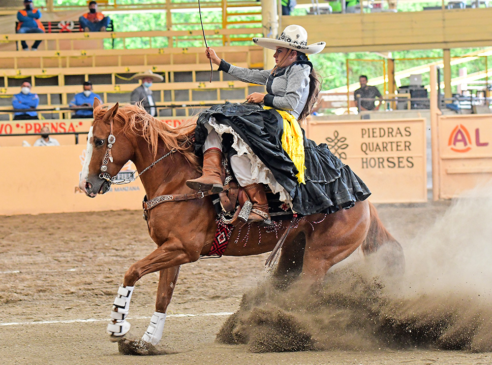 En su punta, la cabalgadura que montó Adriana Treviño Valdez, capitana de Reencuentro de Chihuahua, rayó 13.87 metros en tres tiempos
